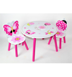 Medinis vaikiškas staliukas + 2 kėdutės