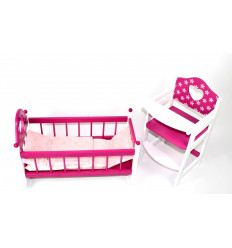Žaislinė medinė lovytė + maitinimo kėdutė