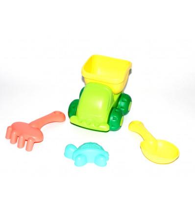 Žaislinis sunkvežimis su smėlio įrankiais