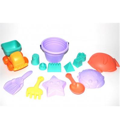 Žaislinis kibirėlis + sunkvežimis + smėlio įrankiai