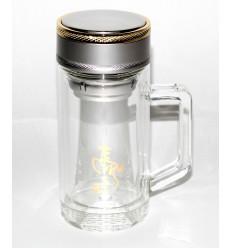 Stiklo puodelis - gertuvė su sieteliu