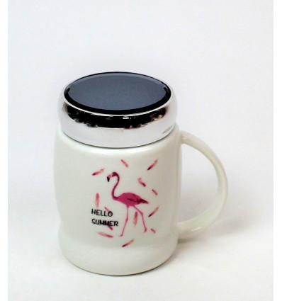 Keramikinis puodelis su užsukamu dangčiu