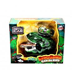 Žaislinė dinozauro galva su 2 automobiliais